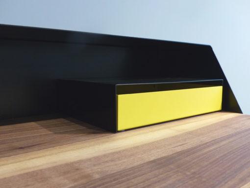 mueller outlet PS05 Sekretär Nuss schwarz gelb