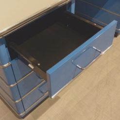 müller metall möbel Outlet TB229-5 Classic Line Schreibtisch in himmelblau mit Zierleisten