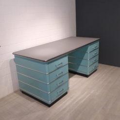 müller Outlet TB 229-5 Classic Line Schreibtisch in türkisgrün mit Zierleisten