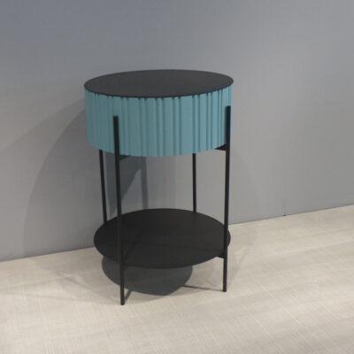 mueller metall moebel TWIST hoher Beistelltisch pastelltuerkis und rauch matt