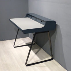 müller Outlet PS10 Sekretär graublau schwarz mit grauer Linoleum Arbeitsfläche