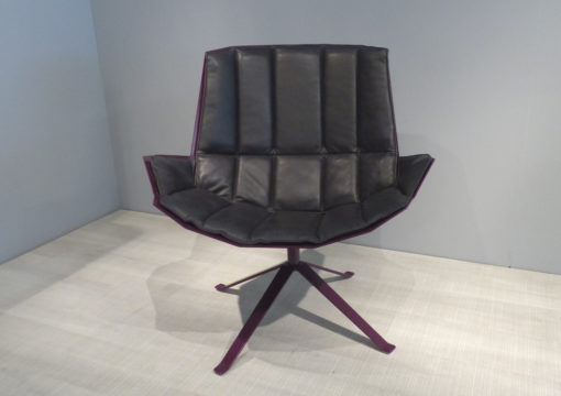 mueller metall möbel outlet MARTINI CHAIR Lounge Sessel purpur violett mit Lederpolster in schwarz
