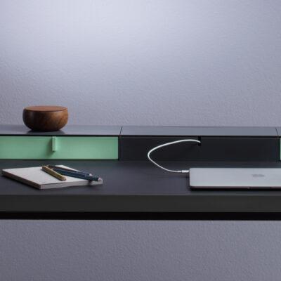mueller metall möbel PS20 Sekretär schwarz mit Linoleumarbeitsfläche