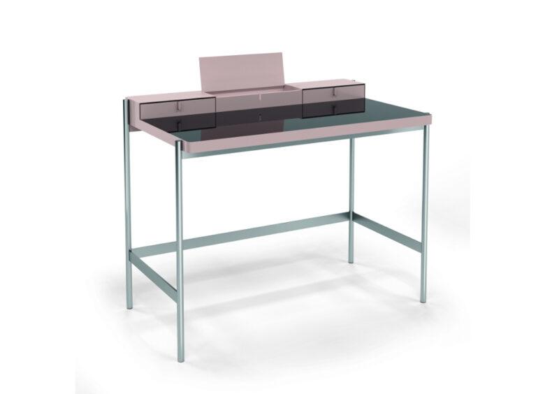 mueller metall möbel outlet PS20 Sekretär Schminktisch rosa und silber schwarze Glasplatte