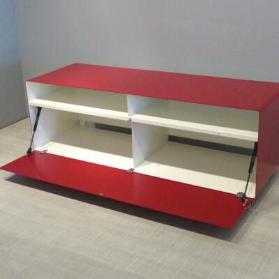 müller metall möbel outlet Sideboard R109N auf Transparenrollen rubinrot reinweiss