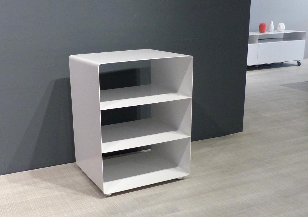 müller metall möbel outlet R600N HiFi Möbel weiß auf Chromfüßen