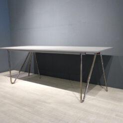mueller Arbeitstisch T22 Linoleumplatte grau mit Chromgestell