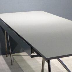 müller metall möbel outlet Arbeitstisch T22 Linoleumplatte grau mit Chromgestell
