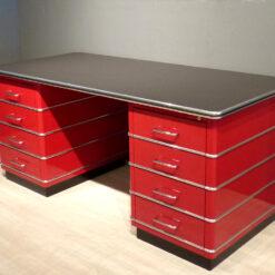 müller metall möbel Outlet TB229-5 Classic Line Schreibtisch in rubinrot mit Zierleisten