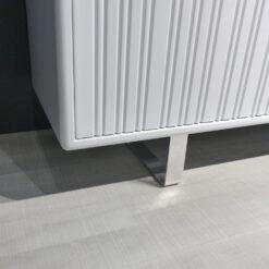 müller metall möbel outlet Sideboard K16 S4 in weiß mit 3 Schiebetüren auf Aluminiumkufen