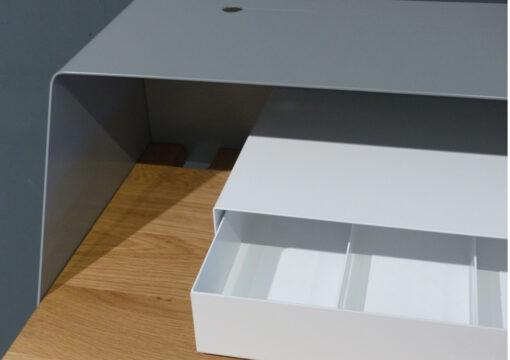 müller metall möbel outlet PS05 Sekretär Eiche verkehrsgrau A und weiß