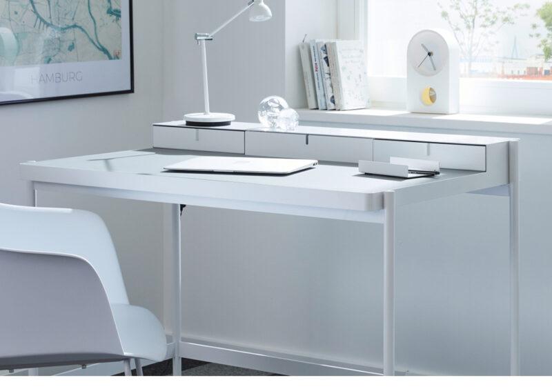 müller metall möbel Outlet PS20 Sekretär weiß mit Linoleumarbeitsfläche grau